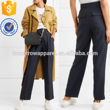 Belted Twill Straight-leg Pants Manufacture Wholesale Fashion Women Apparel (TA3014P)