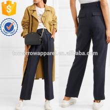 Подпоясанный Саржа прямые брюки Производство Оптовая продажа женской одежды (TA3014P)