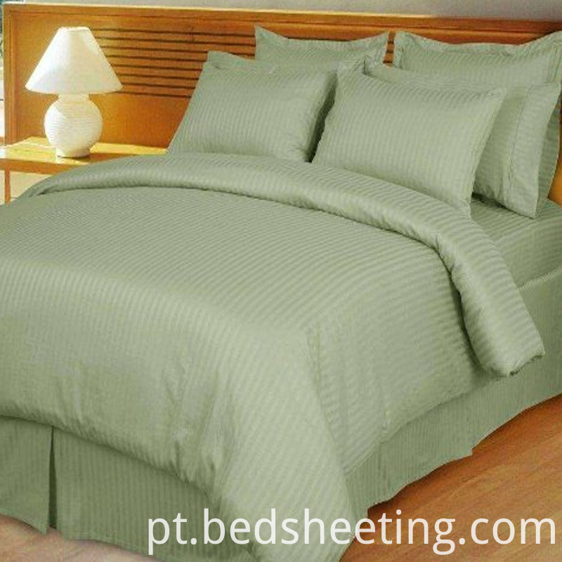 Hotel Sateen Stripe Duvet Cover Green