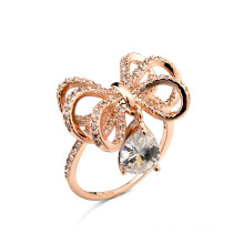 Luxurious Saudi Arabia gold diamond wedding ring price shiny bow pendant diamond wedding ring