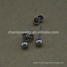 BXG023 Edelstahl runde Kugel Pfosten Pin Ohrring Bolzen Nickel Free Ohrring Ergebnisse für Schmuck-Making