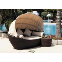Exterior PE Rattan cama Beach Lounge diseño moderno