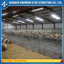 Estructura de acero ligero Edificio de metal prefabricado Diseño de cobertizo de oveja