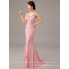 Alibaba Elegant Long Nouveau Designer Cap Sleeve rose Robe de soirée en satin de sirène ou robe de demoiselle d'honneur avec perles LE32