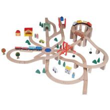 Brinquedo clássico de trem de madeira