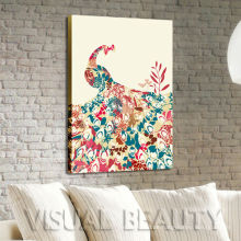 Abstrakte Pfau-Tierpop-Wand-Kunst auf Segeltuch