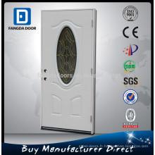 Fangda meilleur prix inserts de porte en verre ovale, porte en verre extérieure, porte d'entrée en verre ovale en acier