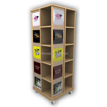 Loja móvel de varejo de 4 vias Móveis para exposições Prateleiras de gôndola de madeira rotativas para venda