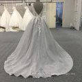 Factory wholesale gray backless elegant formal dress flower a-line evening dress
