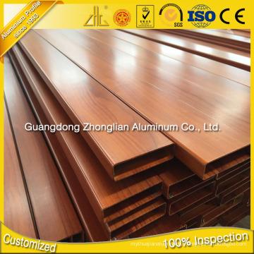 6063 6082 6061 profils en aluminium d'extrusion de grain en bois pour la décoration
