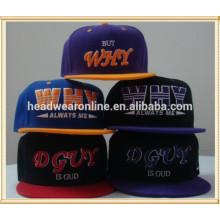 Chapéu personalizado do snapback do logotipo do bordado 3D e tampões brilhantes do snapback da conta lisa da forma