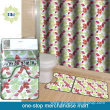 Waterproof Polyester Shower Curtain With Bath Mat Set