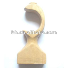 natural color wooden curtain rod wall bracket