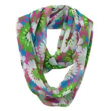 Damenmode Blume gedruckt Polyester Chiffon Infinity Sommer Schal (YKY1108)
