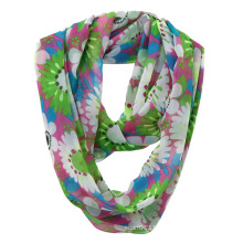 Women Fashion Flower Printed Polyester Chiffon Infinity Summer Scarf (YKY1108)
