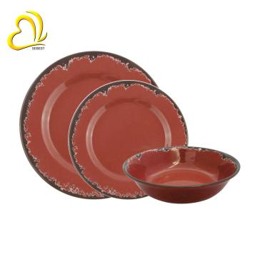 Vajilla de encargo profesional de la venta al por mayor caliente 100% de la melamina, vajilla de la melamina fijada para el hogar