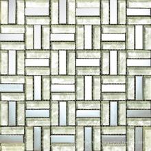 Белый Стеклянный Блок Микс Алюминий Мозаика