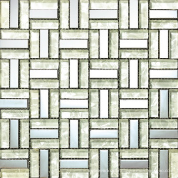 White Glass Block Mix Aluminium Mosaic