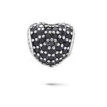 Heart Shape 925 Sterling Silver Beads with CZ Jewelry