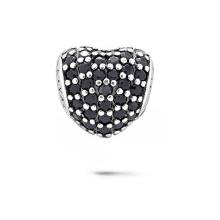 Grânulos de prata esterlina com forma de coração 925 com jóias CZ