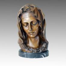 Бюсты Искусство Рисунок Бронзовая скульптура Мария Home Decor Латунная статуя TPE-235