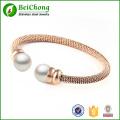 Rempli de bracelets bracelets perle vintage pour femmes Or Rose bracelet en acier inoxydable