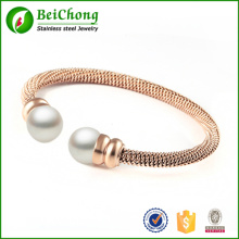 Vintage pearl bracelets bangles for women Rose gold filled stainless steel bracelet