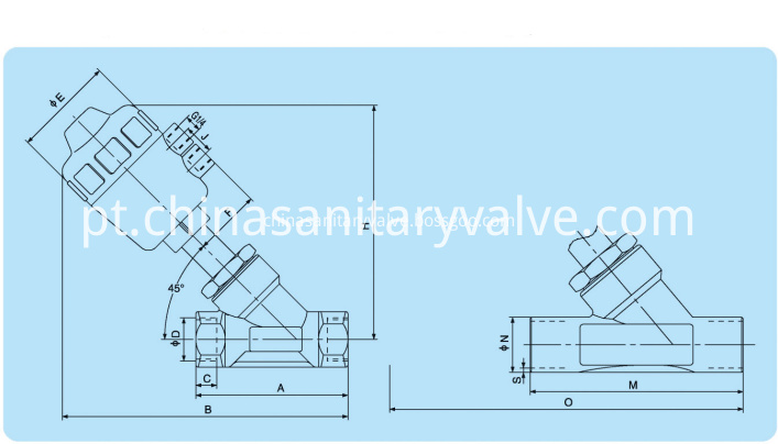 sanitary threaded angle seat valves