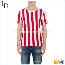 Риб-вязать шеи экипажа пользовательские полосатый футболка хлопок лайкра тонкий Fit рубашки