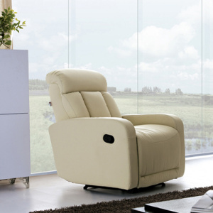 Armchair Recliner Single Beige Genuine Leather Sofa