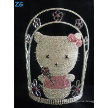Cristal bonito tiara do gato da vaquinha do hello, coroas grandes da representação histórica, tiara cor-de-rosa, tiara feita sob encomenda