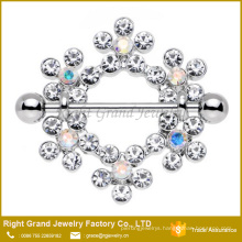 Surgical Steel Bar Breast Ring / Clear Snowflake Nipple Shield