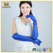 Fashion Colored Sheepskin Ladies Long Leather Gloves Blue Women Long Fashion Dressing Leather Gloves (Simple Styles)
