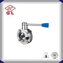 Alta Performance Sanitária Aço Inoxidável Solda Manual Válvula Borboleta
