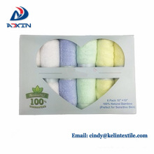 Hot selling 100% bamboo fiber baby washcloth gift towel set