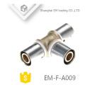 EM-F-A009 conector de compressão cromada latão igual Tee encaixe de tubulação