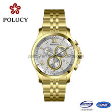 316L Stainless Steel Chronograph Watches Men Gold