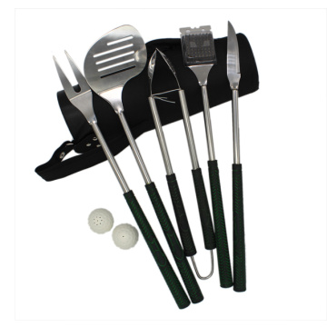 Stainless steel bbq tools set with golf bag