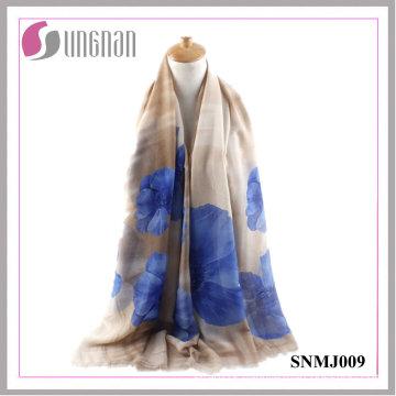 2016 Multicolor Elegance Shawl Begonia Print Satin Cotton Scarf