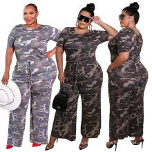 Camouflage print long casual wide leg plus size jumpsuit for women