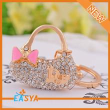 Hot Sale Fashion Colorful Gold Metal Handbag Charm Keychain Keyrings