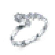 Mulheres 925 Sterling Silver Moda High-End Onda Incrustada CZ Anel de Abertura