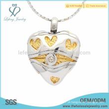 Pingente de coração memorial exclusivo para as cinzas de jóias, pingente de coração para as cinzas