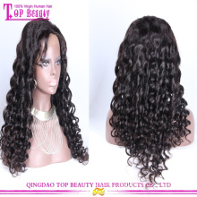 Wholesale cheap natural 100% unprocessed brazilian hair full lace wig with baby hair