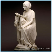 Elegant Life Size White Marble Reading Lady Statue