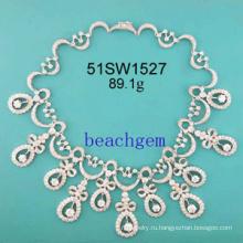 CZ ювелирные изделия стерлингового серебра ожерелье (51SW1527)