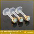 BioPlast 3 mm chapado en oro sintético fuego ópalo Top Push-In Tragus Labret Piercing