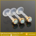 BioPlast 3mm Banhado A Ouro Sintético Fire Opal Top Tragus Push-In Labret Piercing
