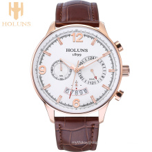 Large Dial Casual Leather Quartz Mens Watch Multifunction Business Waterproof Special Sport Men Watches