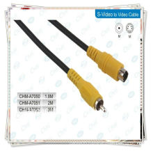 Yellow Nickle -plated S-VIDEO SVideo to Video CABLES S-video to RCA CABLE 6FT MALE TO MALE